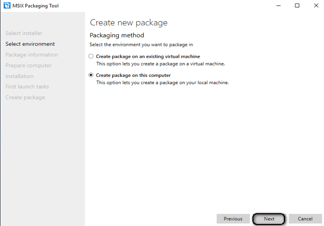 "Choose ""create package on this computer"""