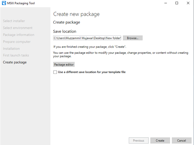 "Specify the package location and click ""Create"""